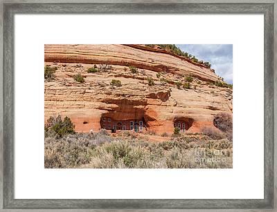 Modern Sandstone Cave Home - Utah Framed Print by Gary Whitton