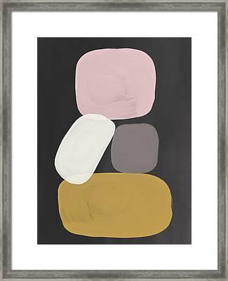Modern Stacked Stones- Art By Linda Woods Framed Print by Linda Woods