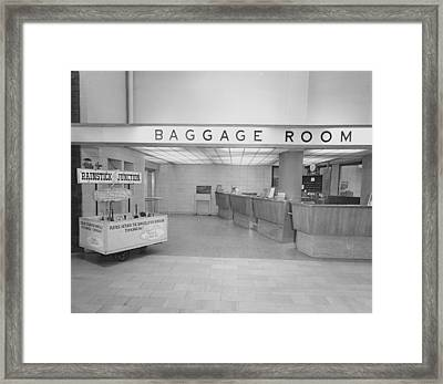 Baggage Room At Chicago Passenger Terminal Framed Print by Chicago and North Western Historical Society