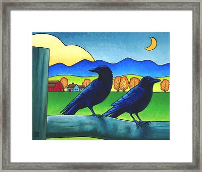 Moe And Joe Crow Framed Print by Stacey Neumiller