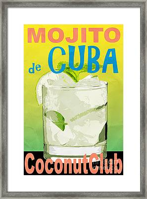 Mojito De Cuba Coconut Club Framed Print by Edward Fielding