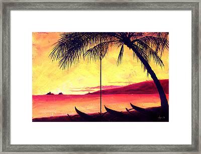 Mokulua Sundown Framed Print by Angela Treat Lyon