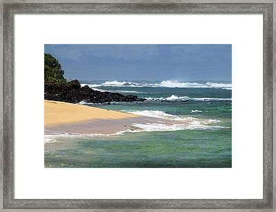 Moloa'a Beach With Giant Waves Framed Print by Frank Wilson