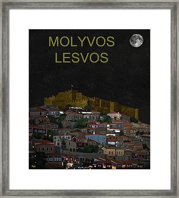 Molyvos By Night  Molyvos Lesvos Greece   Framed Print by Eric Kempson
