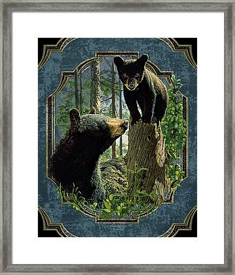 Mom And Cub Bear Framed Print by JQ Licensing