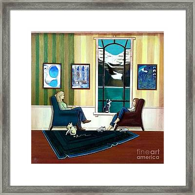 Mom And Daughter Sitting In Chairs With Sphynxes Framed Print by John Lyes