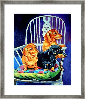 Mom's In The Kitchen - Dachshund Framed Print by Lyn Cook