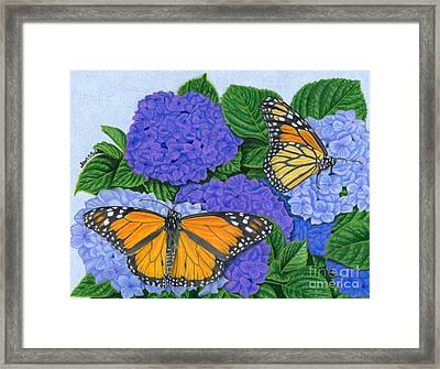 Monarch Butterflies And Hydrangeas Framed Print by Sarah Batalka