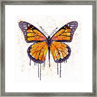 Monarch Butterfly Watercolor Framed Print by Marian Voicu