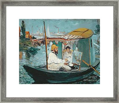 Monet In His Floating Studio Framed Print by Edouard Manet