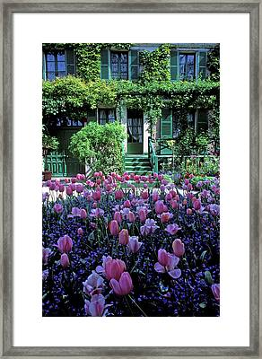Monet's House With Tulips Framed Print by Kathy Yates