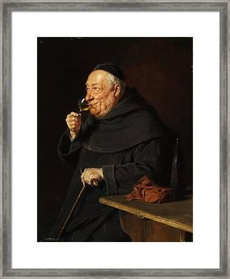 Monk With A Wine Framed Print by Eduard von Grutzner