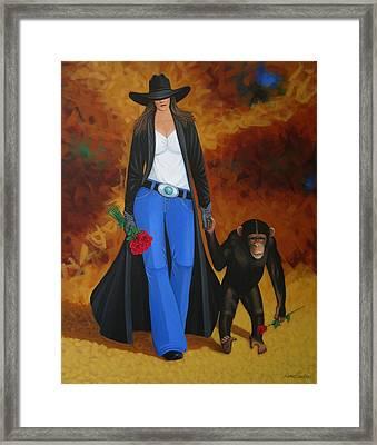 Monkeys Best Friend Framed Print by Lance Headlee
