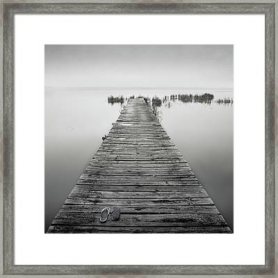 Mono Jetty With Sandals Framed Print by Billy Currie Photography