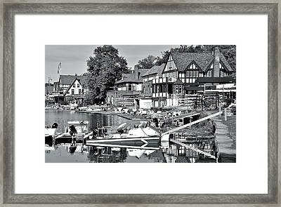 Monochrome Boathouse Row Framed Print by Frozen in Time Fine Art Photography