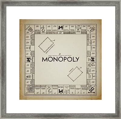 Monopoly Board Patent Vintage Framed Print by Terry DeLuco