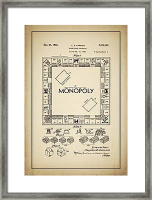 Monopoly Patent 1935 Vintage Border Framed Print by Terry DeLuco
