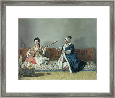 Monsieur Levett And Mademoiselle Helene Glavany In Turkish Costumes Framed Print by Jean Etienne Liotard