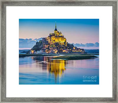 Mont Saint-michel In Twilight Framed Print by JR Photography