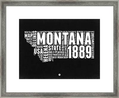 Montana Black And White Map Framed Print by Naxart Studio
