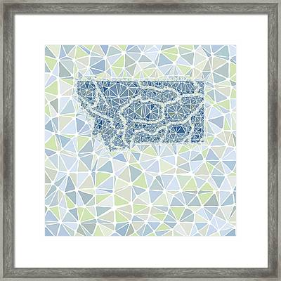 Montana State Map Geometric Abstract Pattern Framed Print by Hieu Tran
