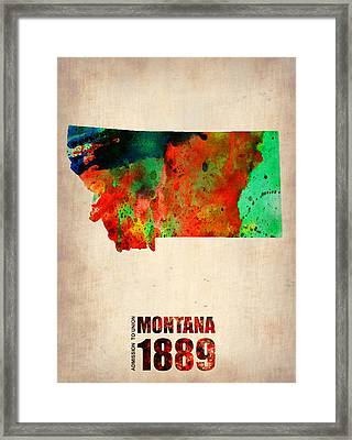 Montana Watercolor Map Framed Print by Naxart Studio