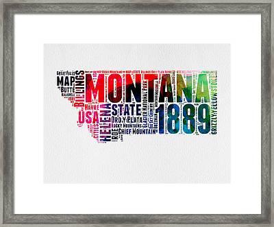 Montana Watercolor Word Cloud  Framed Print by Naxart Studio