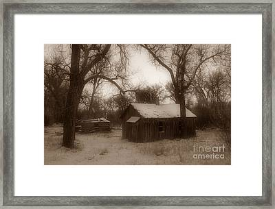 Montana Winter Twilight Sepia Framed Print by Chalet Roome-Rigdon