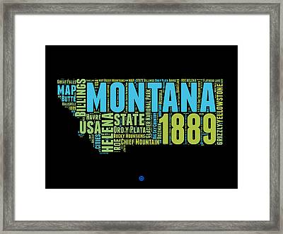 Montana Word Cloud 1 Framed Print by Naxart Studio