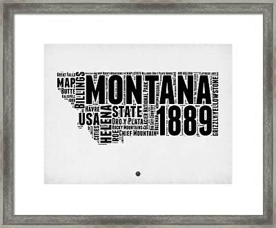 Montana Word Cloud 2 Framed Print by Naxart Studio