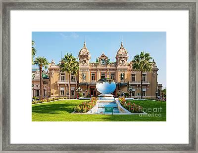 Monte Carlo Casino And Sky Mirror In Monaco Framed Print by Elena Elisseeva