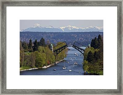 Montlake Bridge And Cascade Mountains Framed Print by C. Chase Taylor