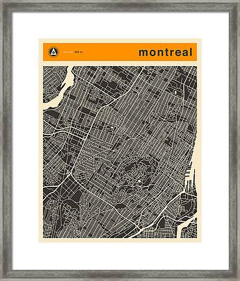 Montreal City Map Framed Print by Jazzberry Blue