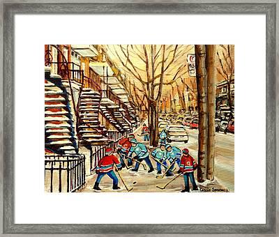 Montreal Street Hockey Paintings Framed Print by Carole Spandau