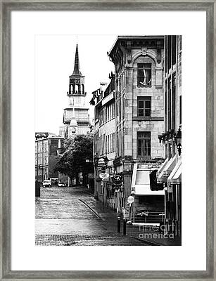 Montreal Street In Black And White Framed Print by John Rizzuto