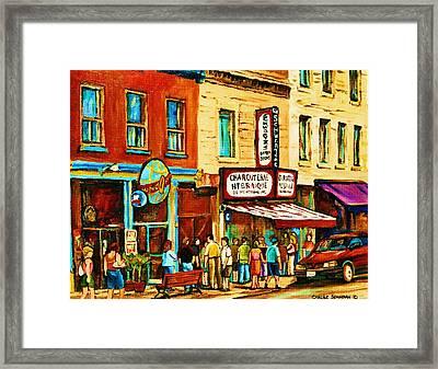Montreal Streetscene Artist Carole Spandau Paints Schwartzs Main Street Hustle Bustle Framed Print by Carole Spandau