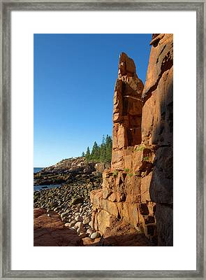 Monument Cove - Acadia Framed Print by Stephen Vecchiotti