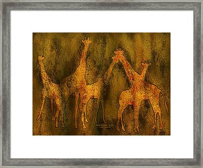 Moods Of Africa - Giraffes Framed Print by Carol Cavalaris