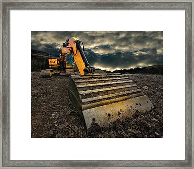 Moody Excavator Framed Print by Meirion Matthias