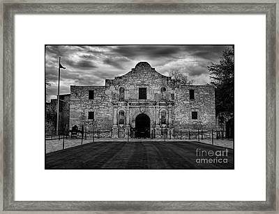 Moody Morning At The Alamo Bw Framed Print by Jemmy Archer