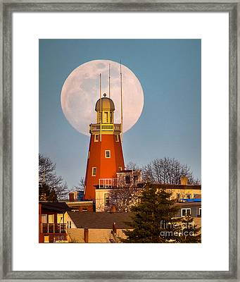Moon Behind The Portland Observatory Framed Print by Benjamin Williamson