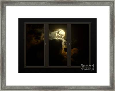 Moon From My Living Room Framed Print by Kaye Menner