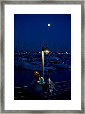 Moon Light Texting Framed Print by Tom Dowd