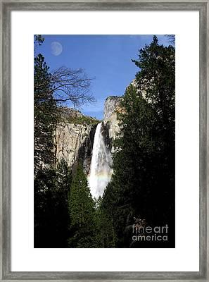 Moon Over Bridalveil Fall At Yosemite Framed Print by Wingsdomain Art and Photography