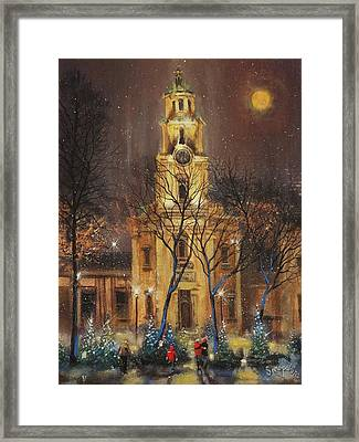 Moon Over Cathedral Square Framed Print by Tom Shropshire