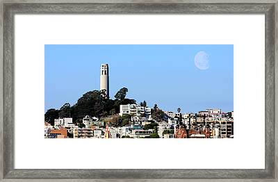 Moon Over Coit Tower Framed Print by Wingsdomain Art and Photography