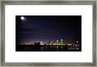 Moon Over Dallas Framed Print by Charles Dobbs
