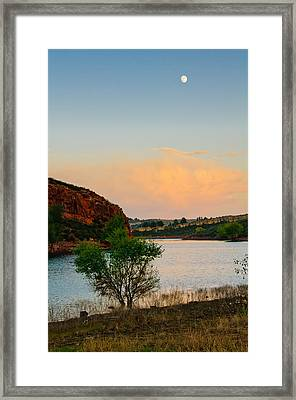 Moon Over Eltuck Bay, Ft. Collins, Colorado Framed Print by Preston Broadfoot