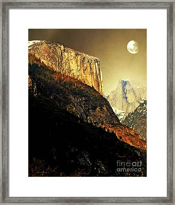 Moon Over Half Dome . Portrait Cut Framed Print by Wingsdomain Art and Photography