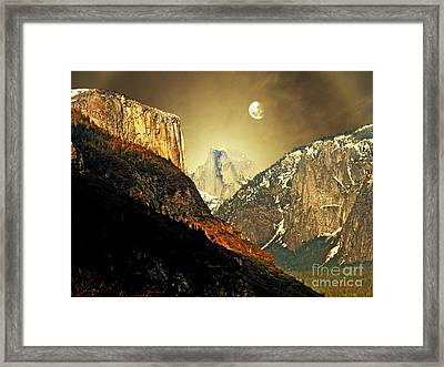 Moon Over Half Dome Framed Print by Wingsdomain Art and Photography